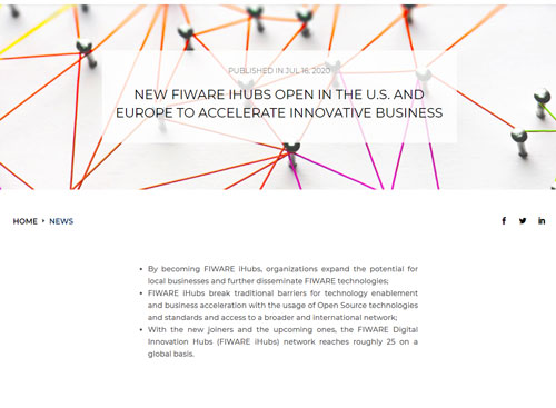 NEW FIWARE IHUBS OPEN IN THE U.S. AND EUROPE TO ACCELERATE INNOVATIVE BUSINESS