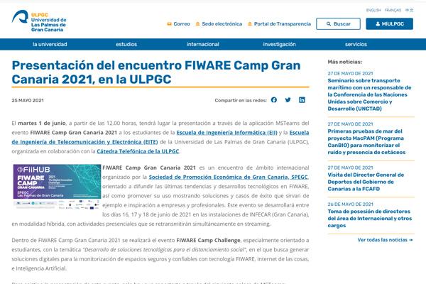 Presentación del encuentro FIWARE Camp Gran Canaria 2021, en la ULPGC